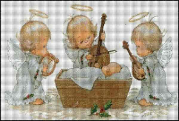 Скачать бесплатные схемы для вышивки крестом ангелочков