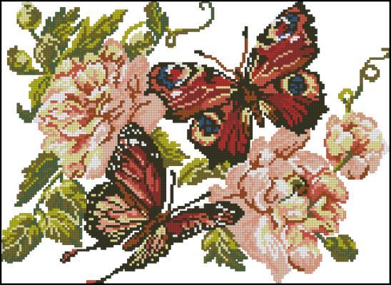 Вышивка пионы и бабочки схема
