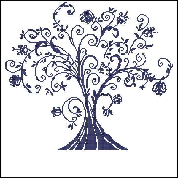 Вышивка дерево черно-белое