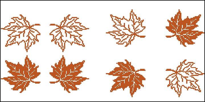 Вышивка осенний лист схема 26