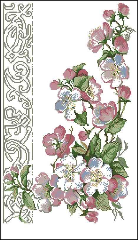 Вышивка крестом цветок яблони