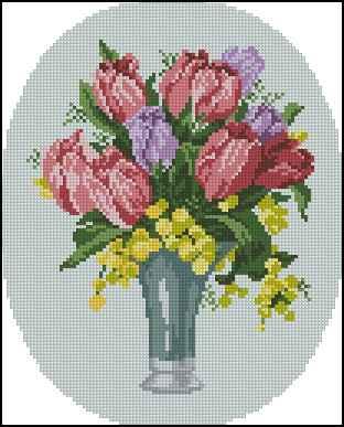 Букет цветов крестик схема