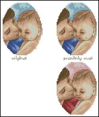 Вышивка крестом мама и два малыша