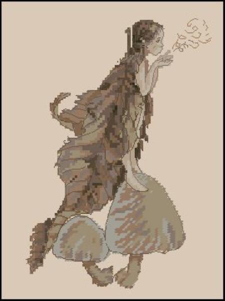 Вышивка эльфы на грибе 42
