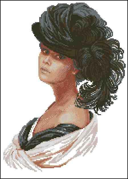 Скачать бесплатно схему вышивки дама в шляпе