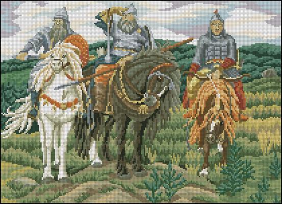 Три богатыря-схема вышивки крестом