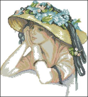 Девушка в красивой шляпе схема вышивки
