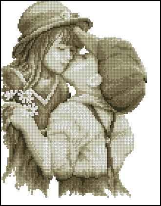 Монохромные схемы вышивки поцелуев