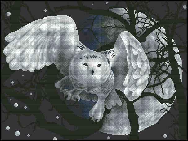 Схема вышивка крестом белая сова