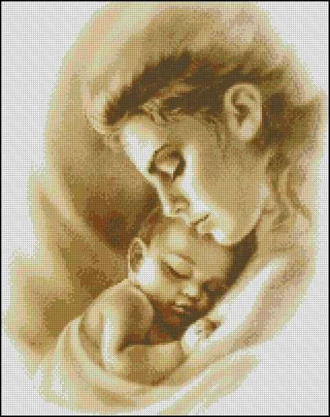Вышивка крестом мама малыш
