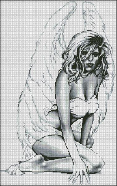 Вышивки крестом черно-белые ангелы