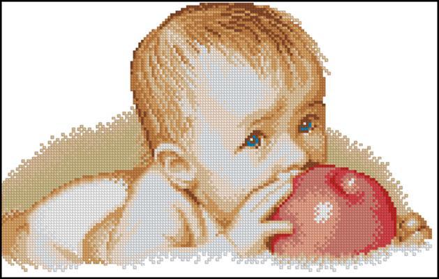 Схема вышивки малыш и яблоко