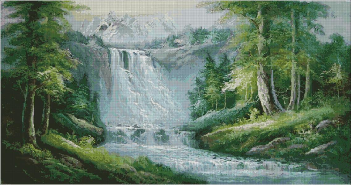 Водопад вышивка крестом схема скачать бесплатно фото 77