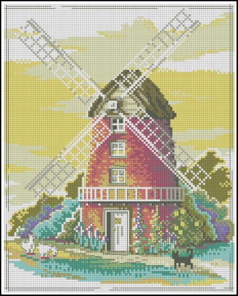 Ветряная мельница вышивка схема
