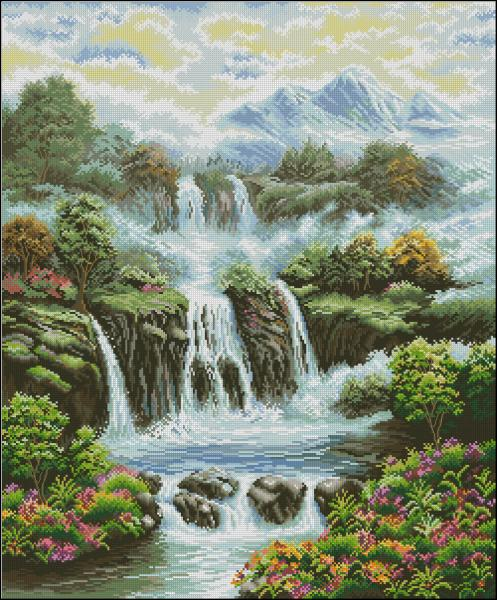 Водопад вышивка крестом схема скачать бесплатно фото 531