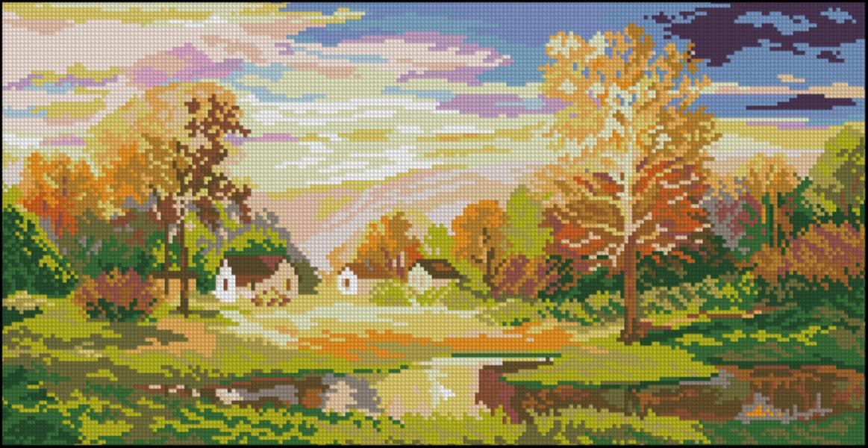 Вышивка крестом осень пейзаж 90