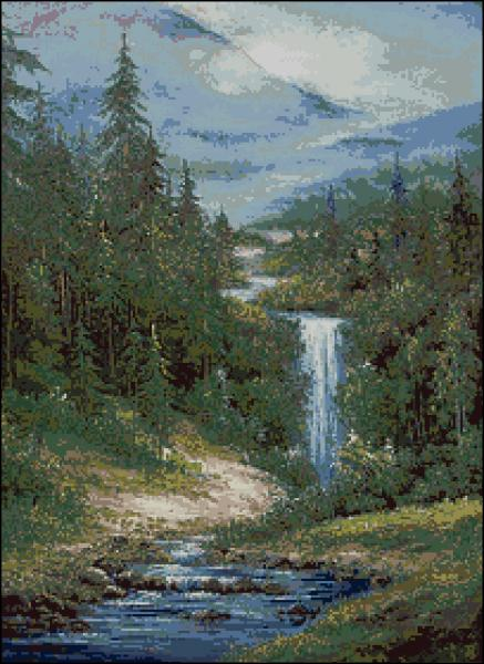 Водопад вышивка крестом схема скачать бесплатно фото 723