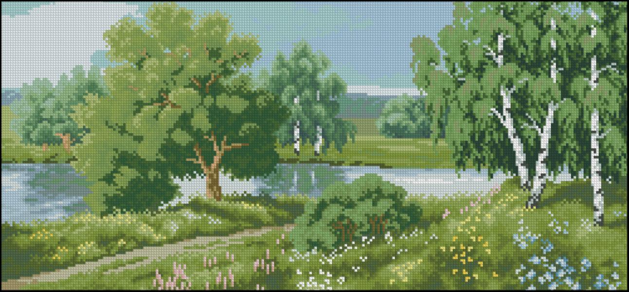 Лесной пейзаж для вышивки крестом