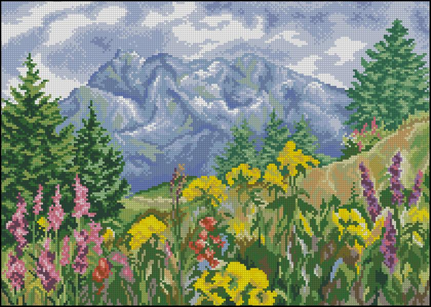 Схемы вышивки с горами