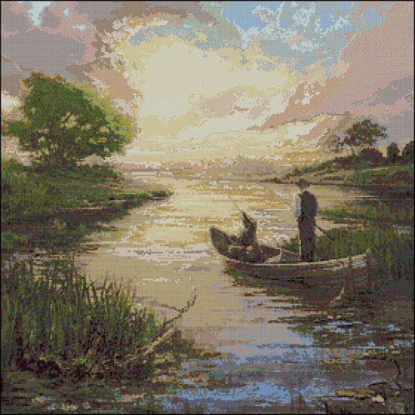 Схемы по вышивке крестом бесплатно рыбалка