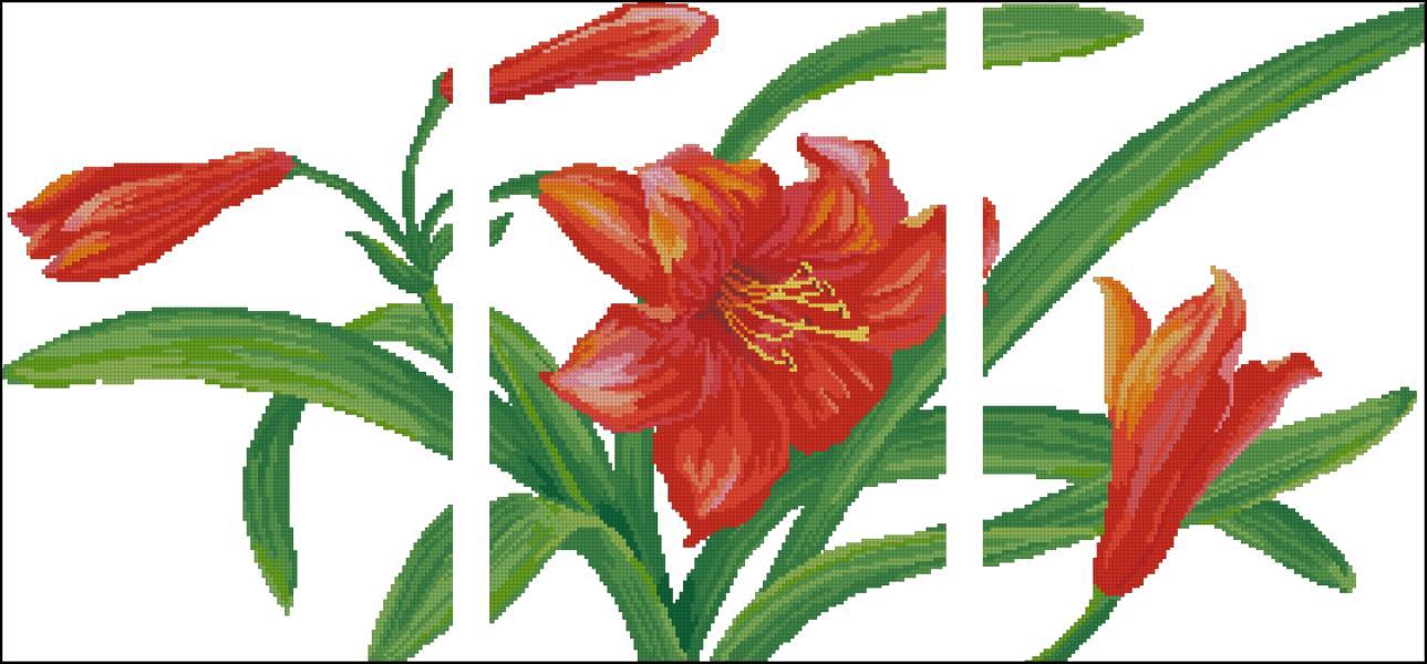 Красная лилия (триптих) схема вышивки
