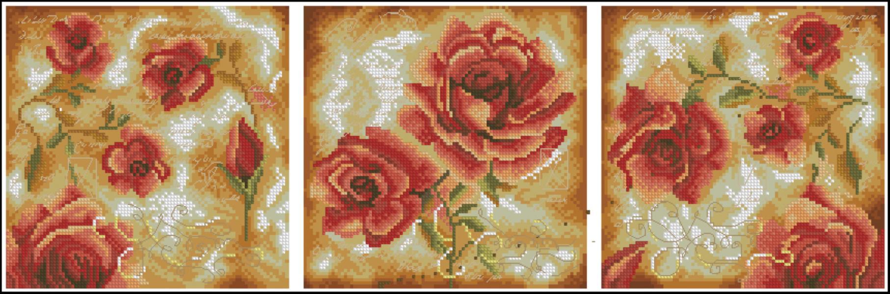 Триптих розы вышивка крестом
