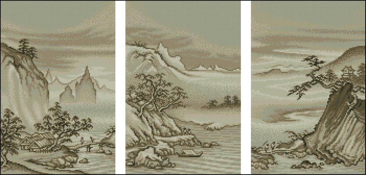 Триптих монохром для вышивки 19
