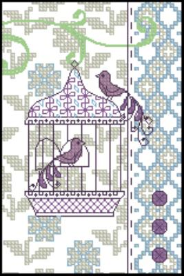 Птица в клетке схема вышивки 81