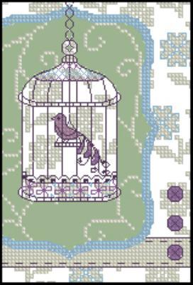 Птица в клетке схема вышивки 62