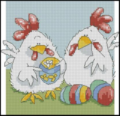 Схема с петушками / Вышивка / Схемы вышивки крестом - Pinterest 94
