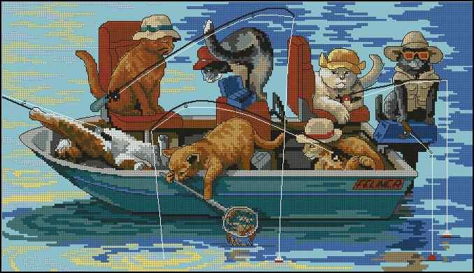 вышивка крестом мальчик на рыбалке