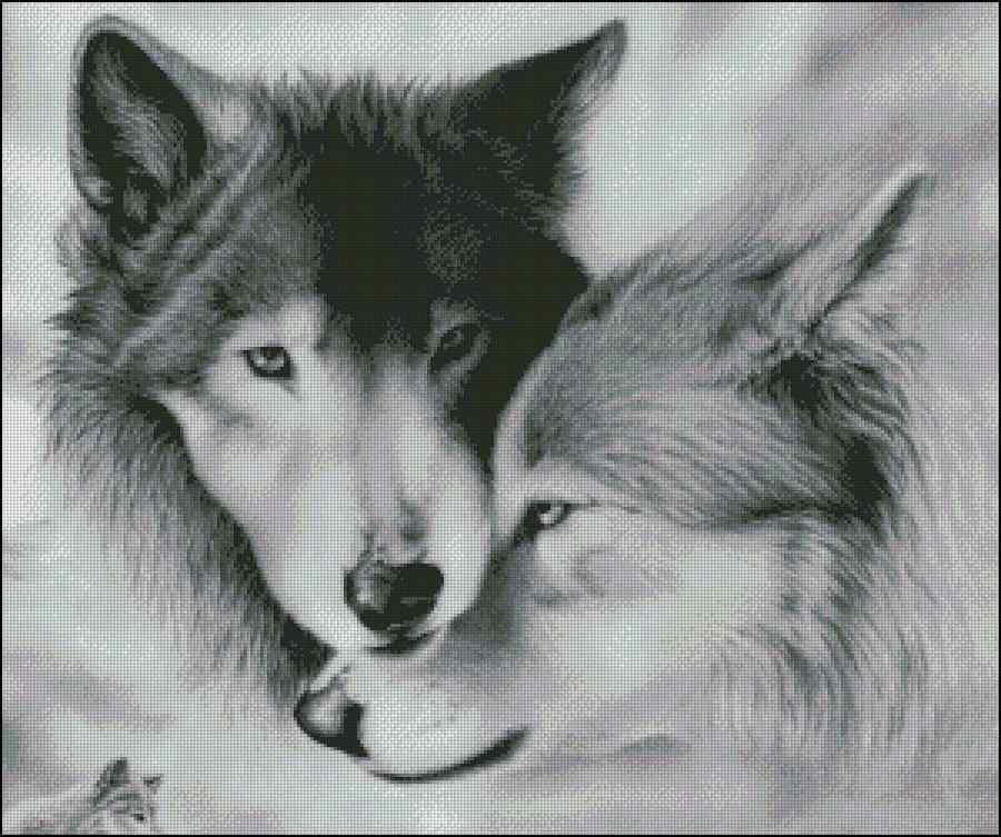 Описание: Схема для частичной вышивки бисером картины Серые волки.  Ткань... вышивка бисером. вышивки бисером.