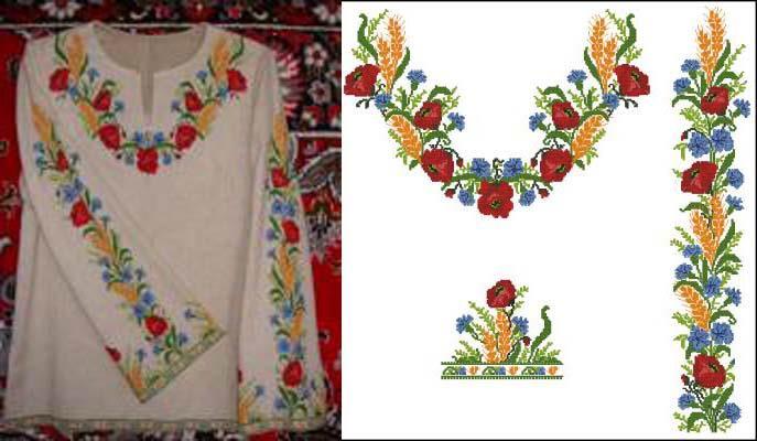Схемы для вышивки женской вышиванки