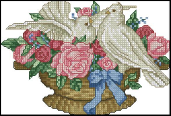 Вышивка крестом свадебные голуби
