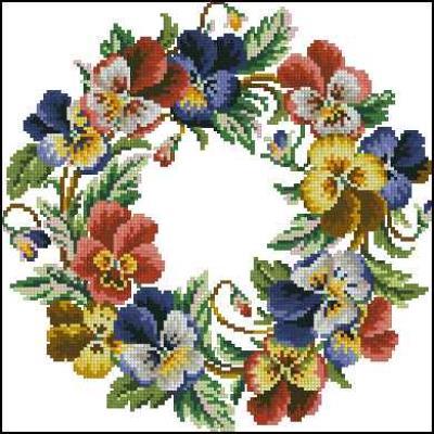 Pansy Wreath 2 схема вышивки крестом скачать
